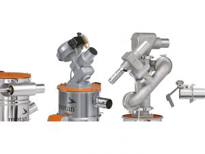 From the left: Material loader with side mounted vacuum valve and angled material inlet, material loader with membrane vacuum valve for clean room use, dedusting module, material inlet flap with reinforced deflector