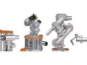 Von links: Fördergerät mit seitlichem Vakuumventil und schrägem Materialeinlass, Fördergerät mit Membran-Vakuumventil für den Reinraumbetrieb, Entstaubungsmodul, Materialeinlassklappe mit verstärktem Prallteller